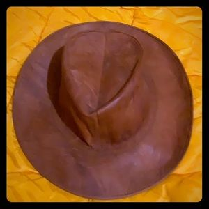 Genuine Pig Skin leather outback hat